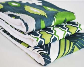 Bue and Green ..Set of (3) VERY ABSORBENT BURPIES...Coordinating  fabric on 3ply cotton burp cloths......  Very handy for baby care