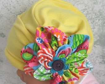 Baby Girls Hat Pattern With Colorful Large Flower Trim Instant Download Infant- 10 Years