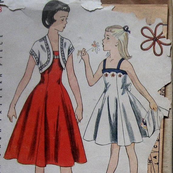 Vintage 50s Girls Dress Pattern Sundress With Bolero And Embroidery Transfers Simplicity 3602 Sz 8 UNCUT