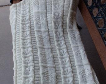 Hand knitted, beige/cream heirloom baby blanket/cable baby blanket/ baby boy knitted blanket/baby girl knitted blanket/crib blanket