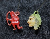 Pair Vintage Native American Cracker Jack Charms