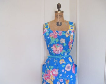 1960s Bright Blue Floral Sun Dress - vintage size medium