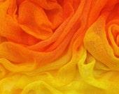 Hand dyed cotton scrim, cotton gauze - bright orange, tangerine, golden yellow, bright yellow, lemon
