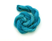 Hand dyed cotton perle 8 embroidery yarn, 30m skein - dark turquoise, blue, deep sea blue, teal