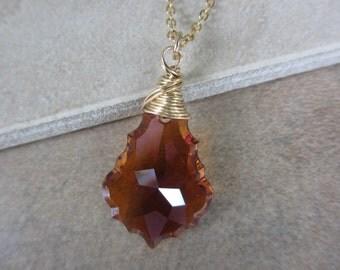 Copper Crystal Necklace, Gold, Wire Wrapped, Burnt Orange, Baroque Pendant, Swarovski, Rust, Irisjewelrydesign