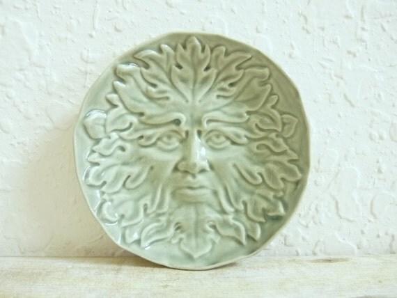Greenman Dish Ceramic Trinket Dish,  Stoneware Pottery, Jewelry Holder Hawthorn Green Man Woodland, Soap Dish