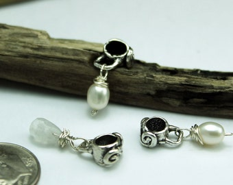 THREE DangleSlides in Sterling Silver with Pearls or Crystals a Ricci Worth Design