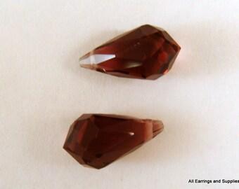 2 Purple Crystal Teardrop Beads Glass Bead, 13x7mm Amethyst - 2 pc - 5925