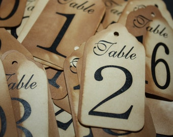 "Medium Table Number Tags Seat Placement Cards 2 1/2"" x 1 3/8"""
