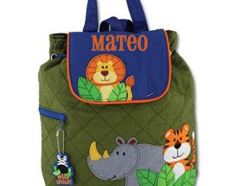 Children Backpack Personalized Zoo Quilted Stephen Joseph