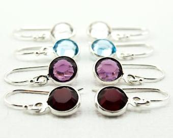 Bridesmaid Earrings,  Set of 4 Pairs,  Swarovski Crystal Drop Birthstone Earrings, Bridesmaid Jewelry, Bridal Party Earrings, Short Earrings