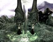 Gothic Victorian Hanging Fruit Bat Earrings Esoteric Dark Art Shrink Earrings by Eyescream