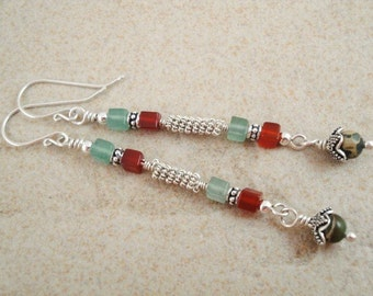Long dangle earrings with gemstone cube beads. Sterling silver .