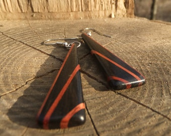 Deco Inspired Earrings - Ebony and Bloodwood