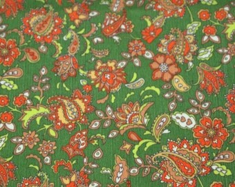 SALE vintage 70s polyester knit, featuring wild paisley design, 1 yard, 2 available priced PER YARD, extra wide
