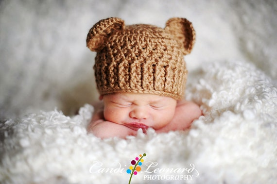 Crochet Baby Teddy Bear Hat Pattern : PDF Crochet Pattern Teddy Bear Hat sizes Newborn to 12
