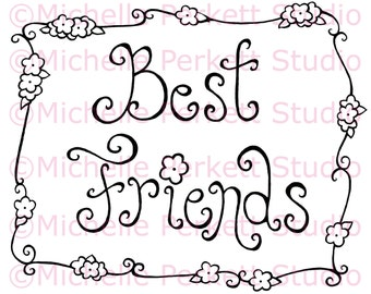 Digital stamp Image Friends Flowers Border Friendship stamping scrapbooking cardmaking