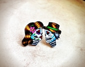 tattoo style day of the dead mini sugar skull post earrings true love boy and girl valentines day (studs)