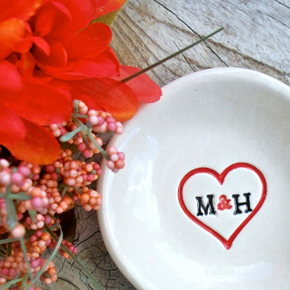 Lovers Ring & Jewelry Dish - You Plus Me - Initials in Heart - Ring Bowl - Ring Dish - Wedding Ring Dish - Ring Holder