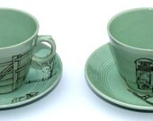 SALE Pair of Green Upcycled Tea Cups and Saucers