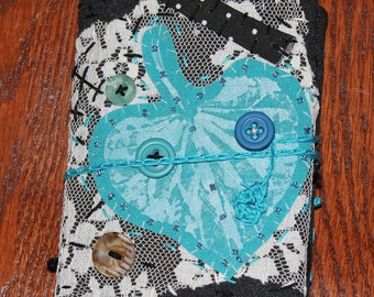 Mini Fabric Art Journal Leaf Turquoise Quilted Embroidered
