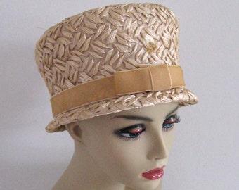 straw hat .  60s straw hat  . Lampshade Straw  Hat . retro straw hat . retro hat . breakfast at Tiffany's hat