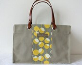 ParaffinCanvas Wide side mini tote bag,  Midwest Modern Martini in grey