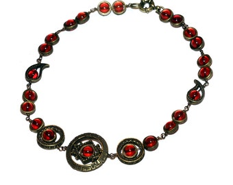 Steampunk Jewelry - Necklace - Red - Antique bronze Star Gate
