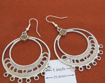 Antiqued Silver 65mm x 45mm Round Chandelier Earrrings Base with Gemuine Swarovski Crystal, Sold per 1 Pair, 1041-42