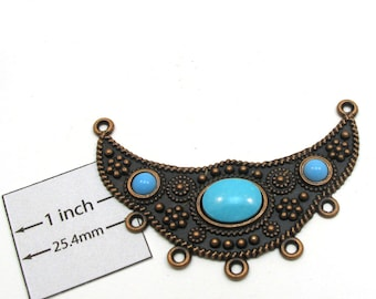 Antiqued Copper Metal Half Moon 60mm x 40mm Centerpiece with Turquoise Color  Oval and Round Cabochons, 1044-27