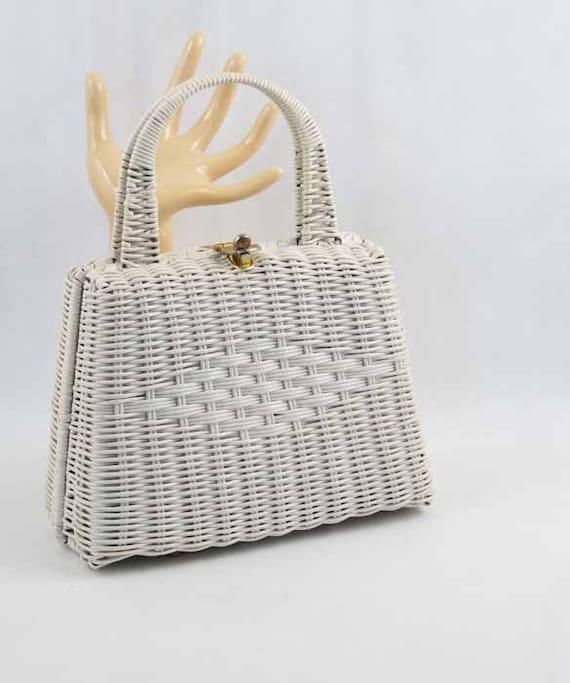 Vintage Purse White Woven Wicker Box Handbag