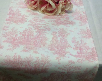 """TOILE TABLE LINENS--choose color Table runners 12"""" wide or napkins or placemats English country wedding Bridal, Decor, Baby's Room"""