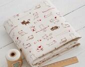 3188 - I Love Cat Cotton Linen Blend Fabric - 57 Inch (Width) x 1/2 Yard (Length)