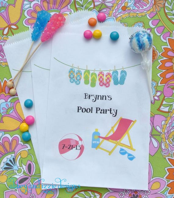 Pool Party Favors Candy Bags Paper bags by ...