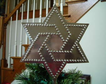 Star of David Tree Topper Hand Cut Tin Punch Star By Larry West