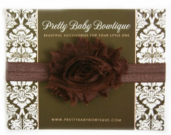 Baby Headband - Brown Infant Headband - Brown Shabby Flower On Brown Stretch Baby Girl Headband