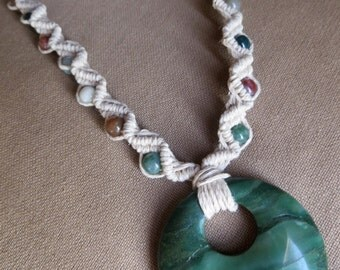 Hemp Macrame Jade Necklace with Indian agate - Natural Hippie Bohemian