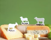 Writeable Cheese Markers - cow goat and sheep cheese labels, hostess gift, holiday party ideas, wine and cheese party gift