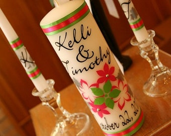 Fall Unity Candle Set with leaves and flowers