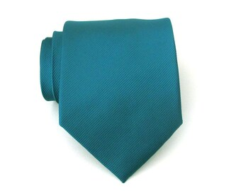 Necktie Teal Green Tonal Stripes Silk Tie With Matching Pocket Square Option