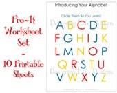 Homeschool Worksheets - 10 Printable Pages for Pre-K to Kindergarten