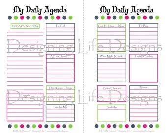 Daily Agenda Printable - 5.5 x 8.5 - Mini Binder Half Sheet Size