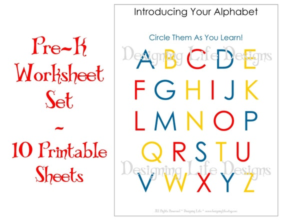 Items similar to Homeschool Worksheets 10 Printable Pages for – Pre-kindergarten Worksheets Free Printables