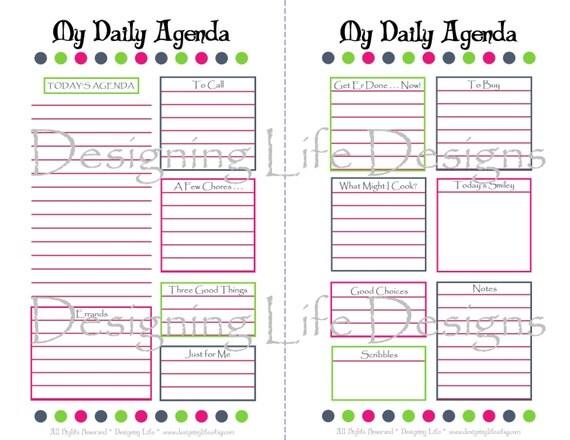 Items Similar To Daily Agenda Printable 5 5 X 8 5 Mini