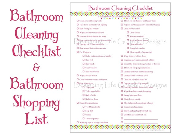 how to clean a bathroom checklist