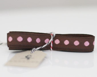 Brown and pink dotted french ribbon 3 yards