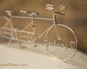 Tandem Bike with Wedding Date Cake Topper Personalized: TANDEM IN TIME
