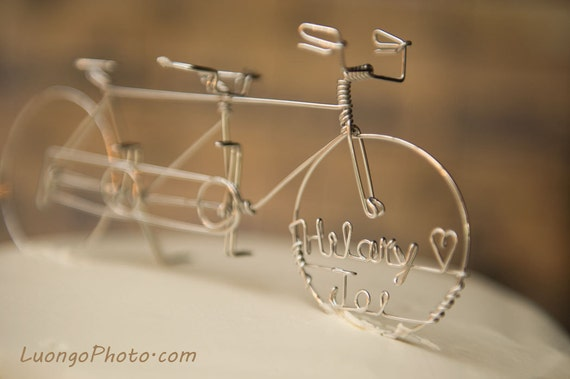 tandem bicycle wedding cake topper in tandem personalized tandem bike wedding by heatherboydwire 20752