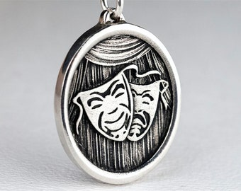 Drama Mask Necklace Custom Sterling Silver Jewelry