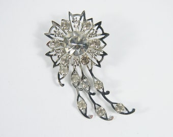 Rhinestone Silver Tone Brooch 50s Vintage Jewelry